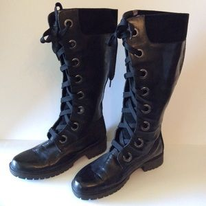 Women's Timberland Boots Tall Black Leather Sz 11